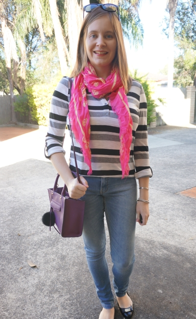 AwayFromBlue | SAHM Style skinny jeans skulls and stripes RM mini MAB bag
