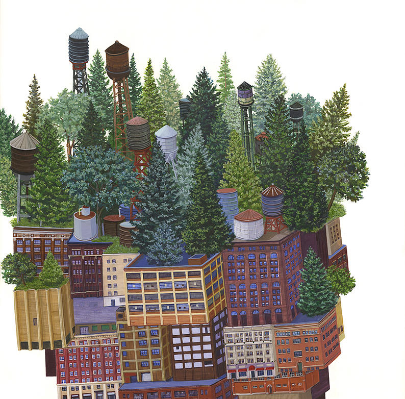15-Lush Roof-Amy-Casey-Fantastical-Architectural-Paintings-of-Real-Life-Buildings-www-designstack-co
