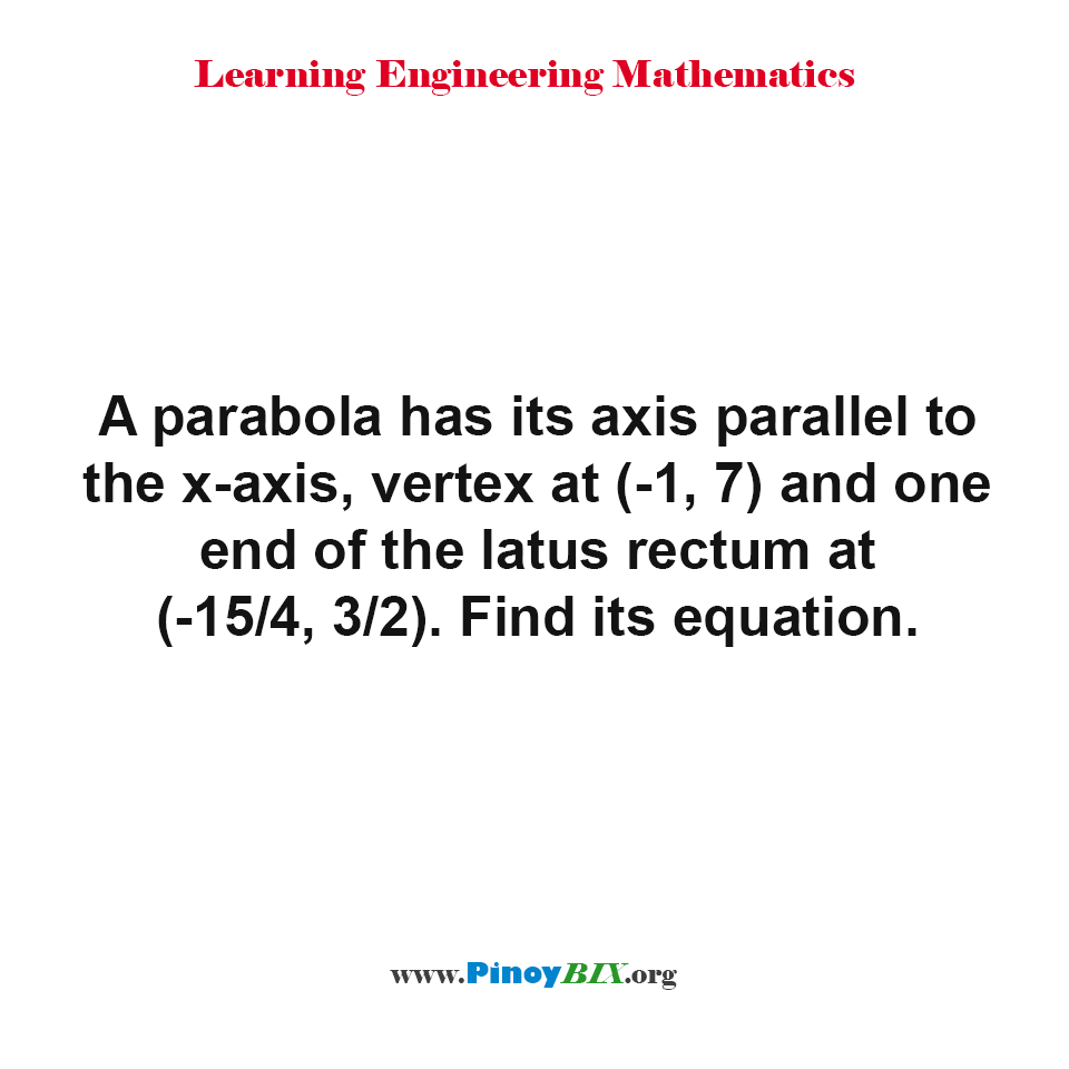 Find the equation of the parabola given its axis, vertex and latus rectum