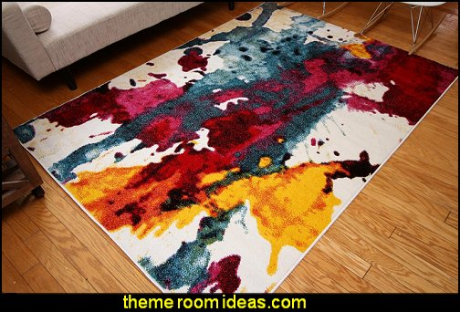 Contemporary Modern Splat Wool Area Rug
