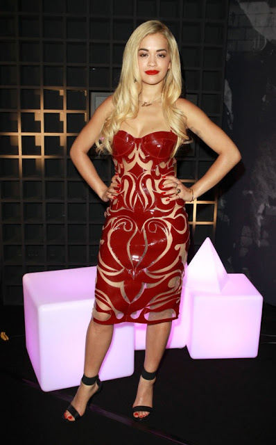 Rita Ora Hot in Red Dress at 2013 Sony Xperia Access Launch Party