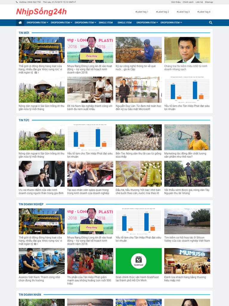 Template blogspot tin tức dạng lưới đẹp chuẩn seo