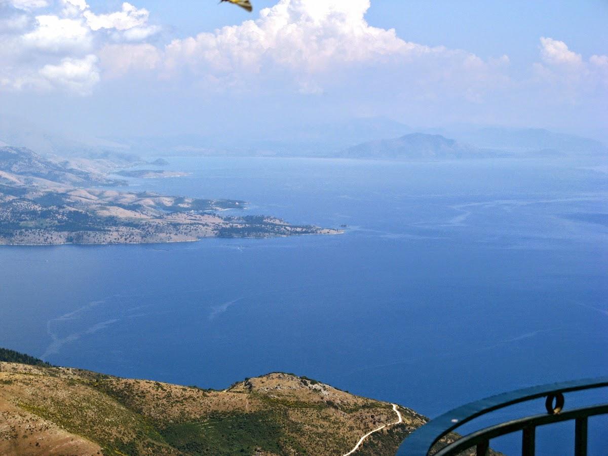 the Ionian Sea View from Mount Pantocrator. Corfu. Greece. Вид на Ионическое море с горы Пантократор. Корфу. Греция.