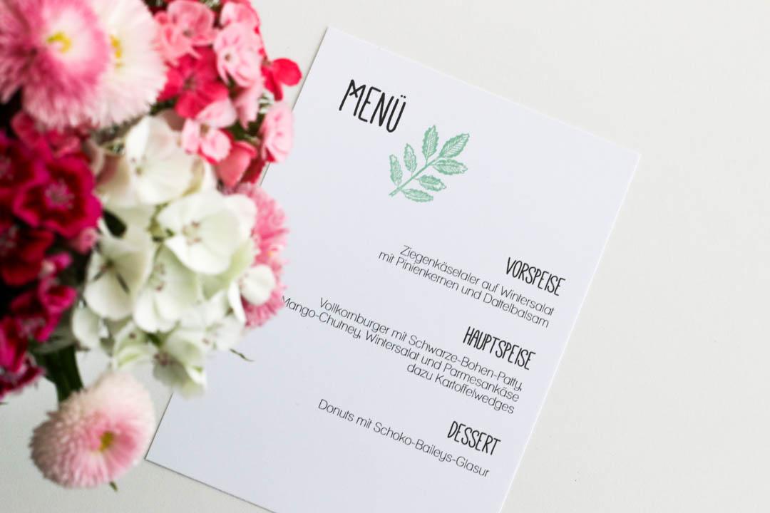 Menü-Karte, Burger-Menü, Dinner, Fleurcoquet