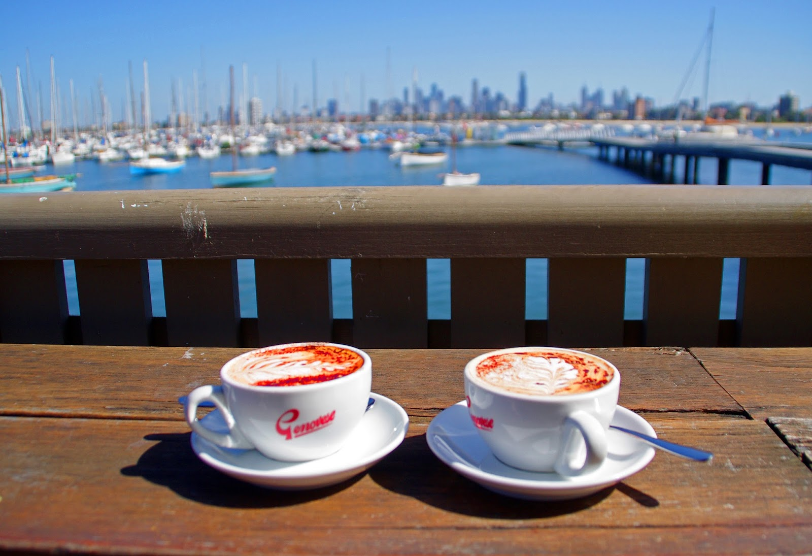 Coffee with a view on St Kilda Pier Melbourne