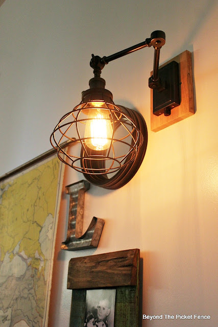 wall sconce, Robert Abbey, oil rubbed bronze, vintage, round mirror, gallery wall, http://bec4-beyondthepicketfence.blogspot.com/2015/10/gallery-wall-with-awesome-light-sconces.html