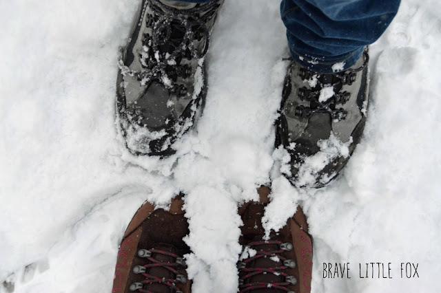 Wanderschuhe im Schnee Erlebnis-Zoo Hannover