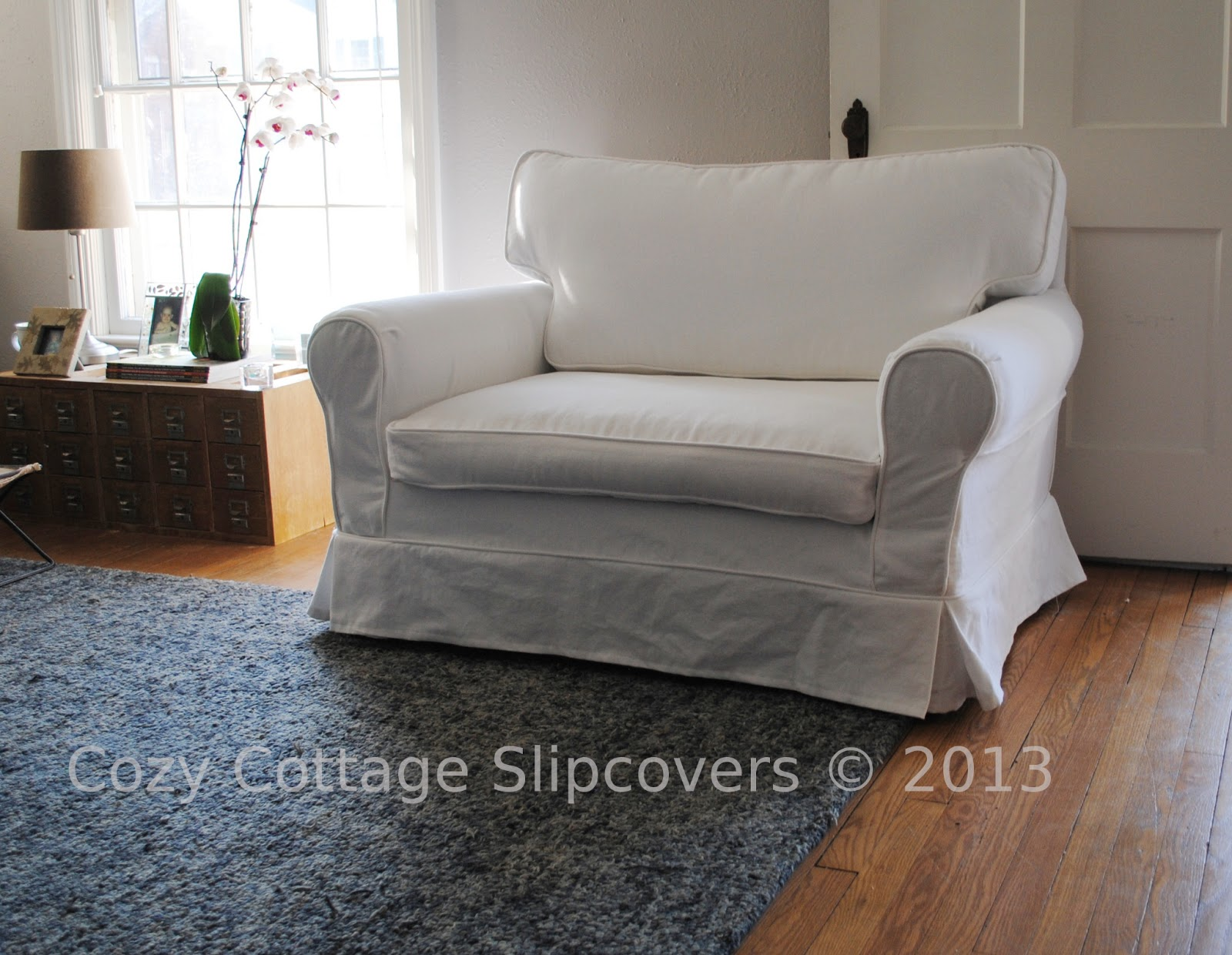 Cozy Cottage Slipcovers Brushed Canvas Chair and a half Slipcover