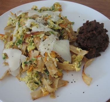 migas and refried black beans