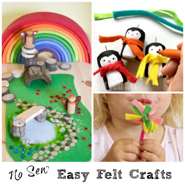 No sew easy felt craft ideas using felt scraps. Most are easy enough for kids to make.
