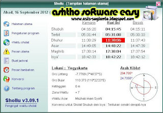 Shollu 3.09.1 - Software Pengingat Waktu Sholat