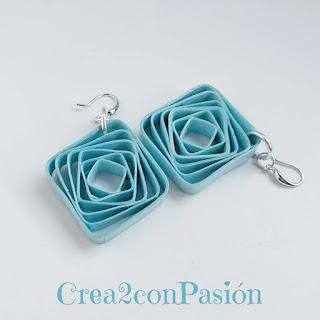 Tutorial-quilling-bisutería-pendientes-de-formas-geométricas-azul-Crea2-con-Pasión