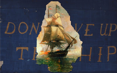 Don't Give Up the Ship flag with image of Niagara inside