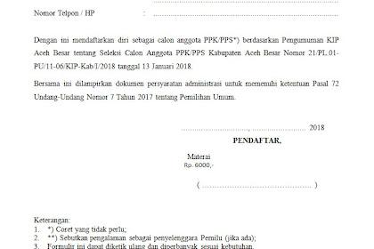 Contoh Surat Lamaran Calon PPK dan PPS KIP