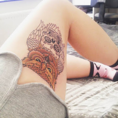 Leg tattoo design with owl and a skull feminime
