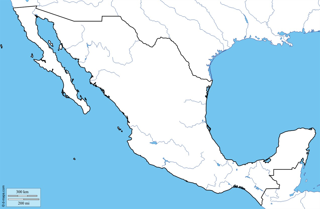 Outline Map for Mexico | World Maps