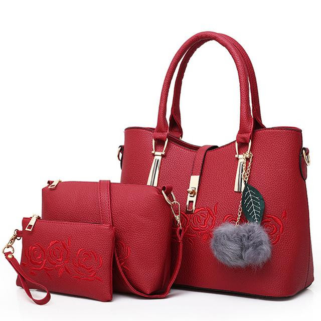 3 Piece: Luxurious Rose Leather Messenger Bag Set