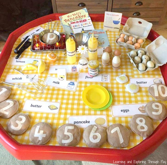 Pancake Day Shrove Tuesday Activities for Kids. Pancake Tuff Tray.