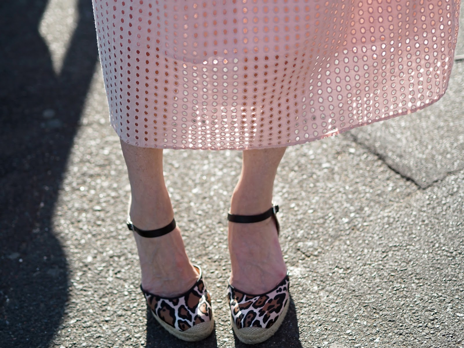 pink broderie anglaise ruffle midi dress with leopard print espadrilles
