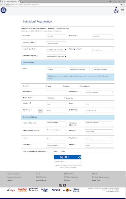picture of complete individual irctc registration form