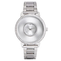 SILVER SIGNATURE LIVING LOCKET WATCH WITH SWAROVSKI CRYSTALS + STAINLESS STEEL BAND