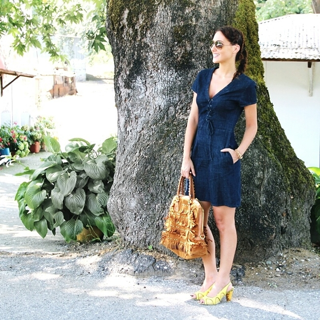 Jelena Zivanovic Instagram @lelazivanovic.Glam fab week.Zara denim dress, fringe suede tote, braided hair.