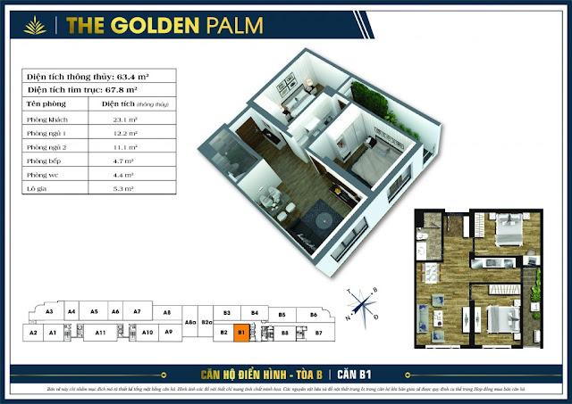 Mặt bằng căn B1 67.8m2 The Golden Palm
