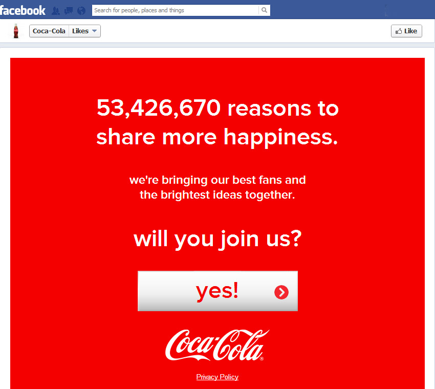 Coca-Cola Company welcome page