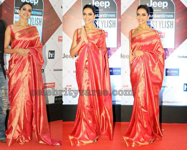 Deepika Padukune in Red Kanchi Pattu Saree