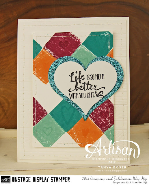 Stampin' Up!'s Heart Happiness and Petal Palette stamp sets play well together here! The 2018 Occasions Mini is loaded with wonderful products. ~Tanya Boser as Display Stamper