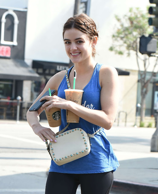 Lucy Hale in Spandex at Starbucks in Los Angeles