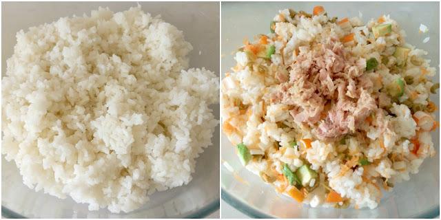 Mezclar ingredientes con arroz