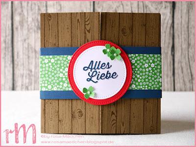 Stampin' Up! rosa Mädchen Kulmbach: Card in a box mit Glücksschwein zum 65.