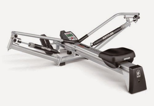 Kettler Kadett Rowing Machine, review, offer circular rowing motion with 2 hydraulic cylinders to control resistance, padded seat, smooth gliding action, compare with Kettler Favorit