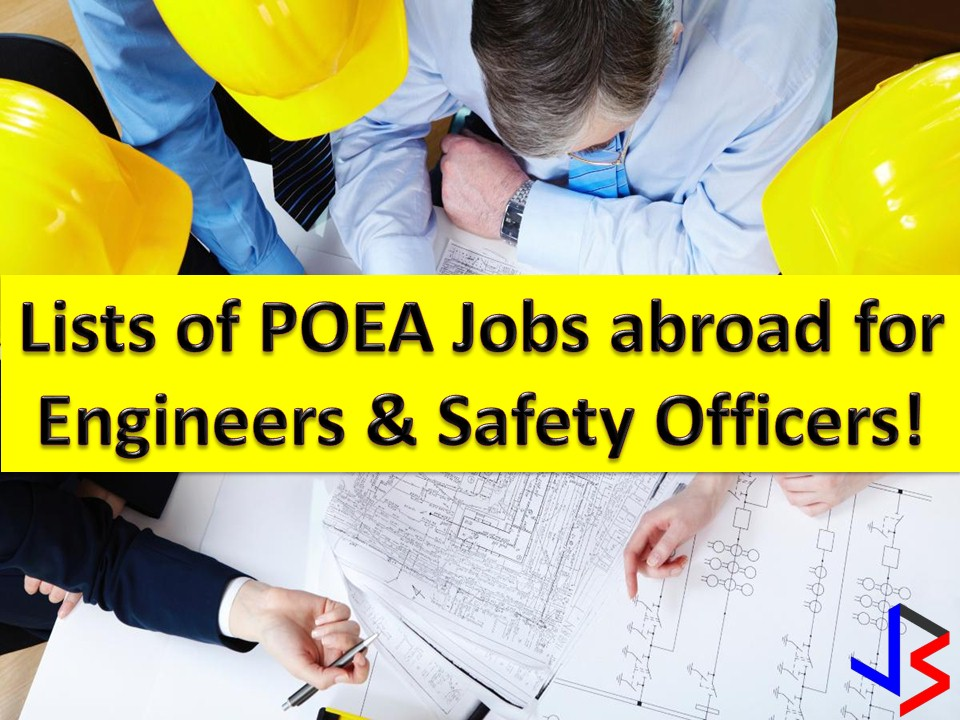 Filipino engineers are considered one of the best workers in the world. This is the reason why many countries are hiring different workers from the Philippines, not just engineers but also safety officers and other workers for construction.  This January 2018, there are job opportunities for Filipino engineers in other countries. Recruitment agencies have an open vacant position for engineers and safety officers. Open position means, they can hire as many as they can because of the demand.  The following information is taken from the website of Philippine Overseas Employment Administration (POEA). Information on recruitment agencies is being added for interested parties.  Please reminded that we are not recruitment agencies, all information in this article is taken from POEA website and being sort out for much easier use. The contact information of recruitment agencies is also listed. Interested applicant may directly contact the agencies' representative for more information and for the application. Any transaction entered with the following recruitment agencies is at applicants risk and account.