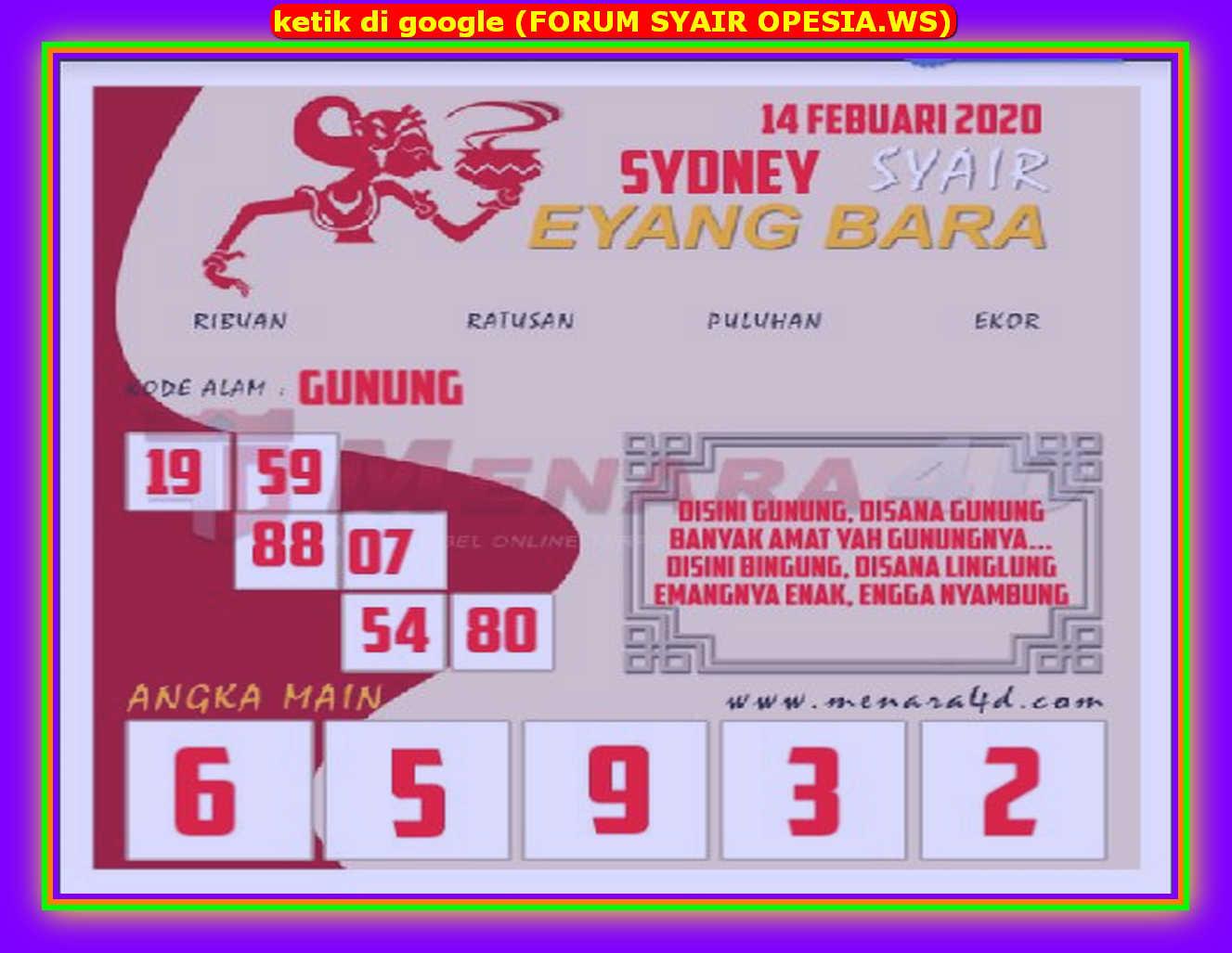 Kode syair Sydney Jumat 14 Februari 2020 56