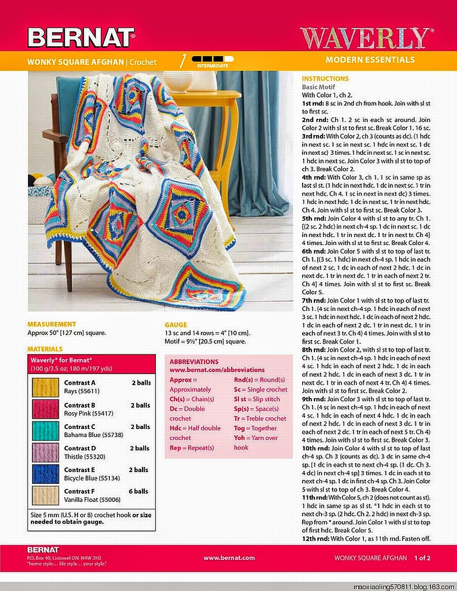 Maravillosa manta al crochet con cuadros artísticos - con diagrama y ...