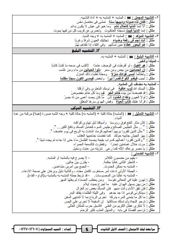 مراجعة ليلة امتحان اللغة العربية للصف الاول الثانوي ترم ثاني أ/ السيد السحراوي 4
