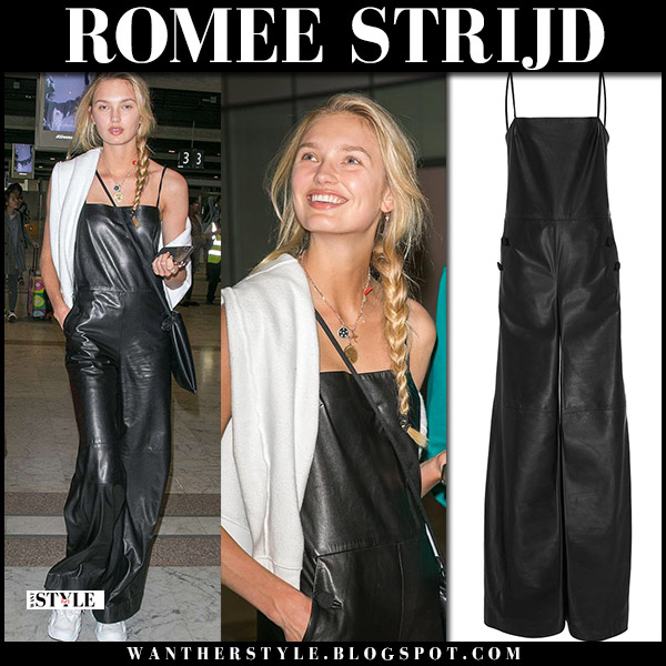 Romee Strijd in black leather jumpsuit hellessy airport model style may 6