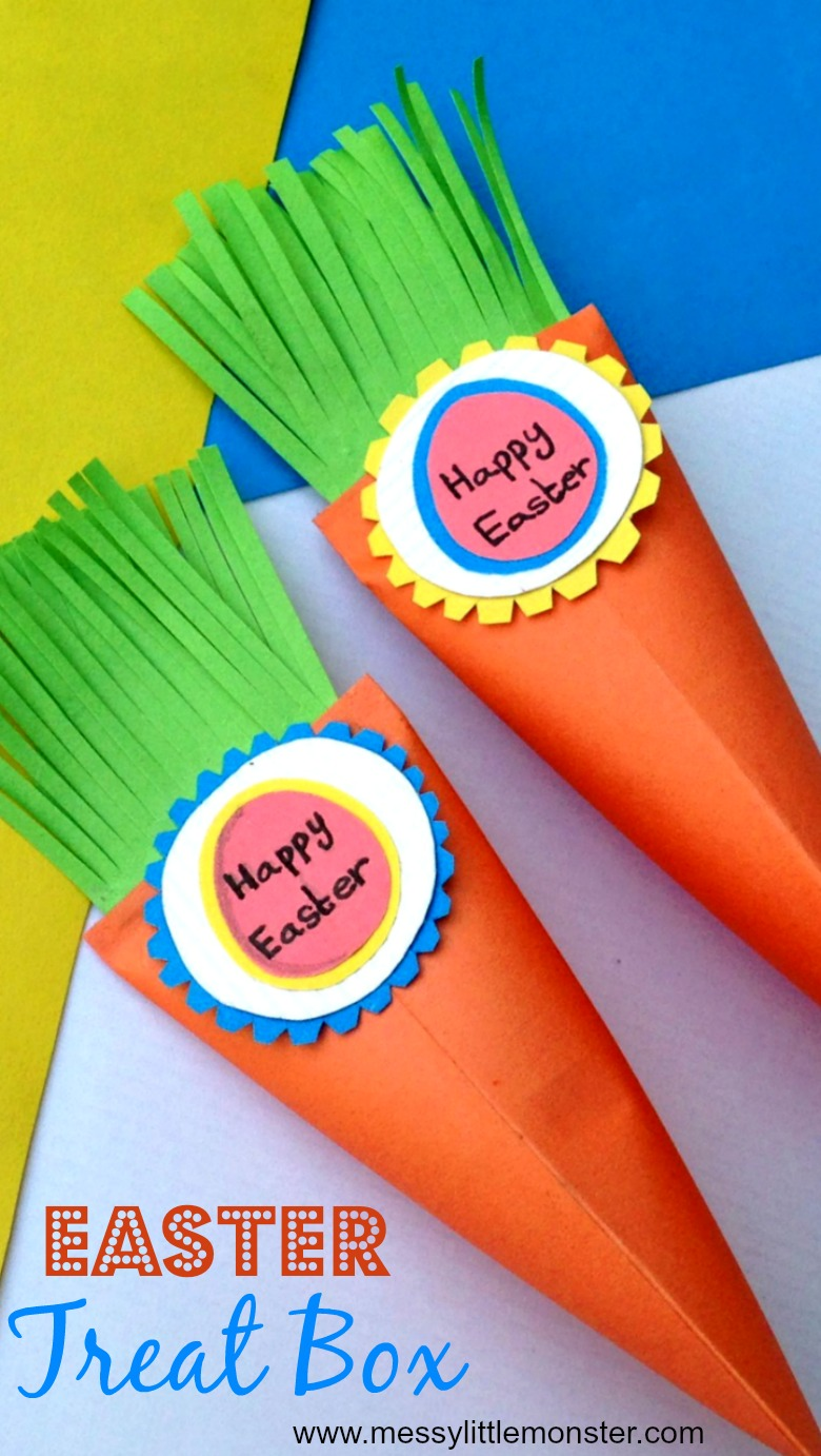 Easter carrot treat box paper craft for kids - Use the free carrot printable to make this easy DIY treat box paper craft. What will you fill your treat boxes with?