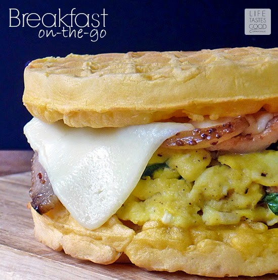 Breakfast On-the-Go Egg Sandwich | by Life Tastes Good is a delicious way to start the day! #4MoreWaffles #shop
