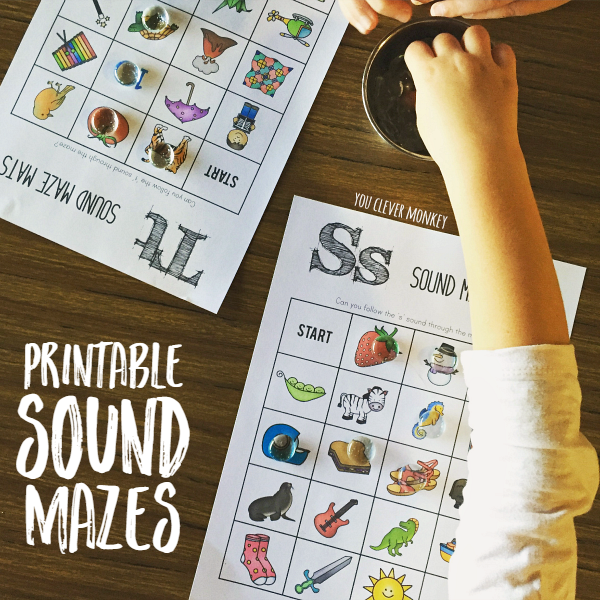 Printable Initial Sound Maze Mats - perfect for word work in your Daily 5 lesson or as a independent literacy centre activity. Great for developing speech and language too | you clever monkey