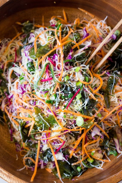 Vegan rice noodle salad with sesame dressing