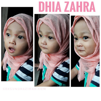 dhia zahra, si kecil yang aktif, dhia zahra bertudung, dhia zahra berhijab, ragam anak kecil