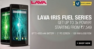 Exclusively @ Flipkart: Lava Fuel 50 Dual SIM White (1.3 GHz Quad Core with 8 GB ROM and 1 GB RAM, Kit Kat 4.4.,3000mAh) for Rs.6921 Only