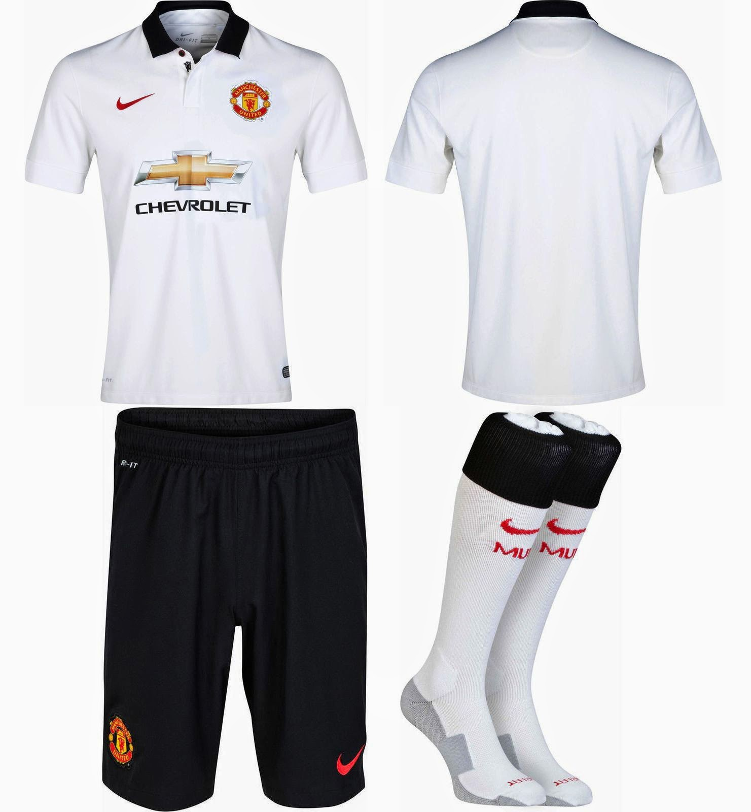80e73f9d45f9 Гостевой комплект формы Манчестер Юнайтед выполнен в черно-белых цветах.  Футболка полностью белого цвета с классическим воротом черного цвета.