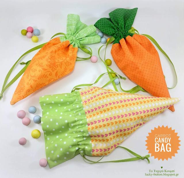 """Carrot candy bag""  Καρότο πουγκί για ζαχαρωτά 23 x 12 cm"