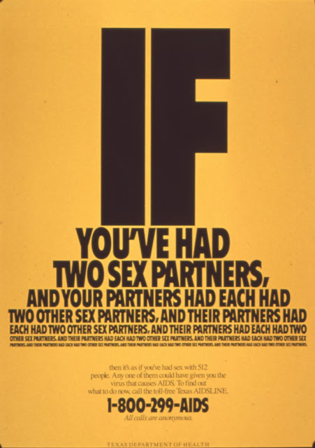 Campaña SIDA VIH AIDS If you have two sex partners 1986