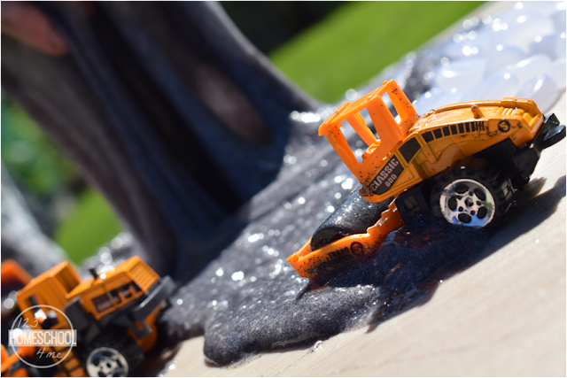 construction-vehicle-roller-black-slime-summer-activities-for-kids