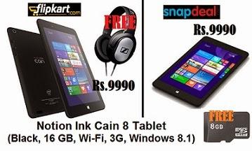 Notion Ink Cain 8 Tablet(16 GB, Wi-Fi, 3G) for Rs.9990 Only @ Flipkart & Snapdeal (Flipkart Freebie: Sennheiser Headphone | Snapdeal Freebie: 8 GB Memory Card)